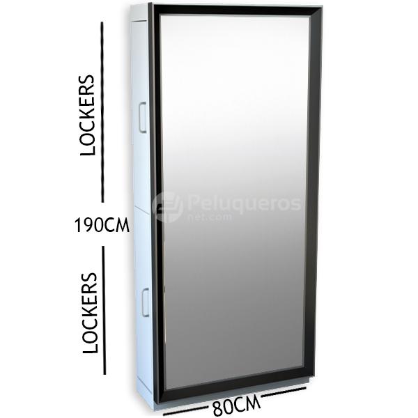 Espejo Negro Y Aluminio C/Mueble