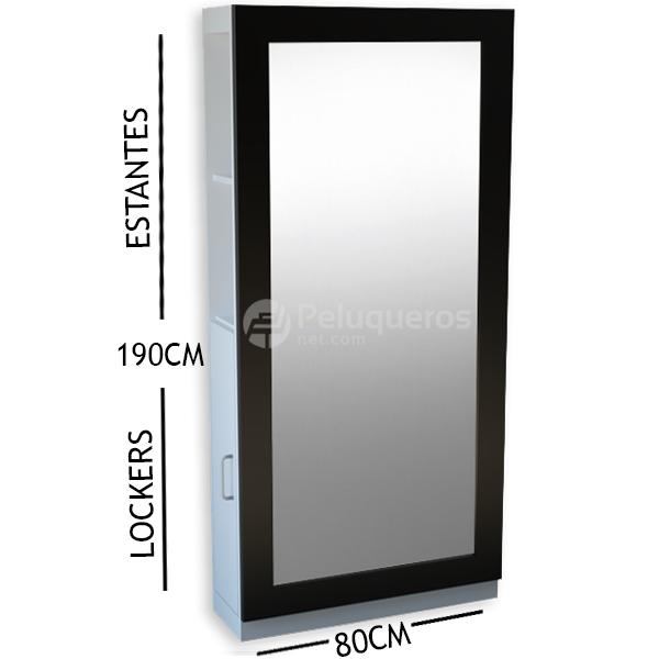 Espejo Perfil Plano Negro C/Mueble