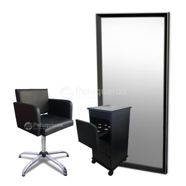 Combo 44 – Sillón + Ayudante + Espejo Negro Y Aluminio