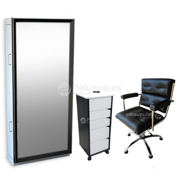 Combo 37 – Espejo Negro Y Aluminio + Ayudante + Sillón