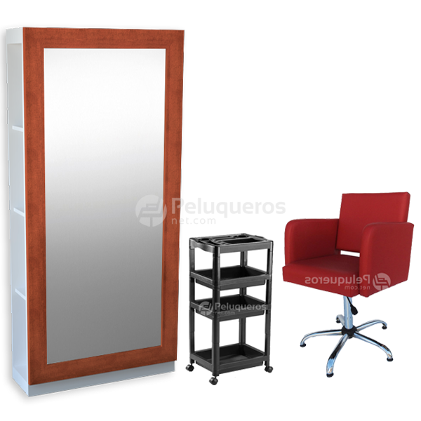 Combo 39 – 1 Espejo C/Mueble Cedro + 1 Carro + 1 Sillón