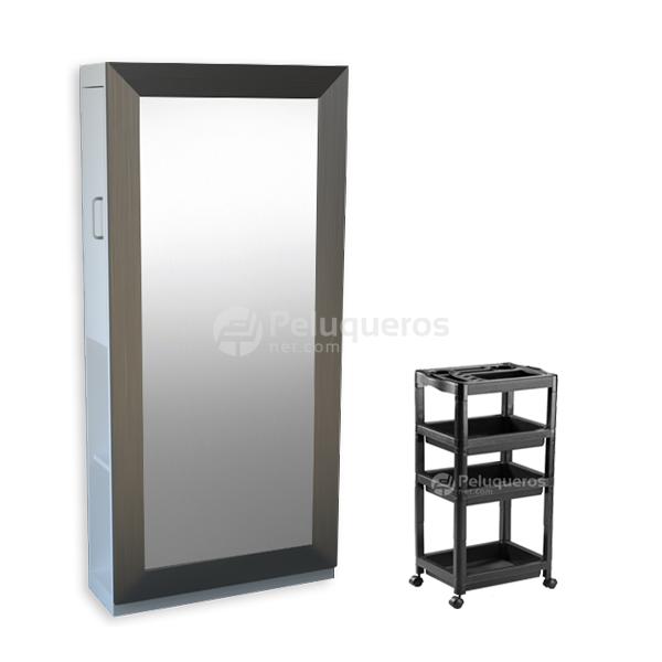 Combo 42 – Espejo Perfil Plano Cepillado C/Mueble + Carro